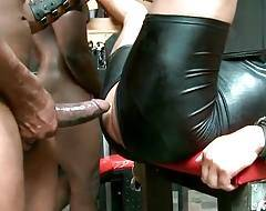 Big black bull Nubius is stretching Luc`s tight asshole for his master Aron.