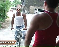 Kamrun drives on bike when spots horny Nicholas A and just can`t pass by.